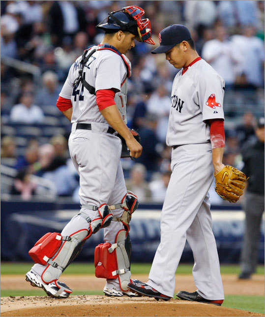 Red Sox starting pitcher Daisuke Matsuzaka got off to a rough start in the first inning, which prompted a mound visit from catcher Victor Martinez. Matsuzaka allowed five runs in the first inning of the Red Sox' game vs. the Yankees at Yankee Stadium.