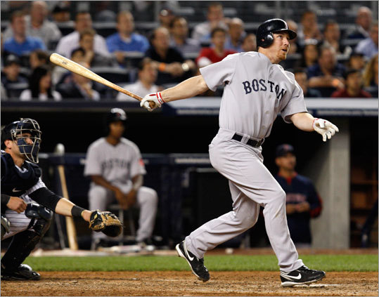 Boston right fielder J.D. Drew cranked a three-run home run in the fifth inning that cut the Yankees' lead to 6-5. Yankees catcher Francisco Cervelli could only watch the blast down the right-field line.