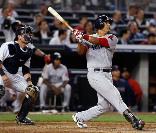 Red Sox catcher Victor Martinez ripped his second home run of the night in the eighth inning to give Boston a 9-7 lead.