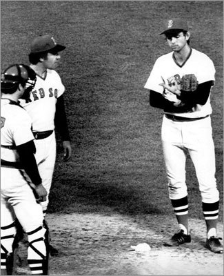 Oct. 22, 1975: Sox lose World Series Game 7 to Reds Red Sox starter Bill Lee shows teammates a blister on his thumb which forced him to leave the final game of the World Series in the seventh inning at Fenway Park. After winning a memorable Game 6 on a Carlton Fisk walkoff homer, Boston was seven outs away from winning their first World Series in 57 years, but Tony Perez, Ken Griffey, and Pete Rose rallied the Reds back to win it.