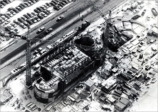 A view from above shows the work at the site in 1970.