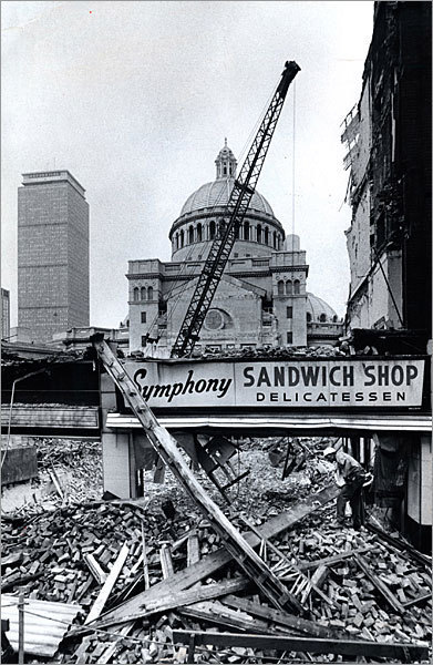 This building was taken down as part of the ongoing construction in 1973.