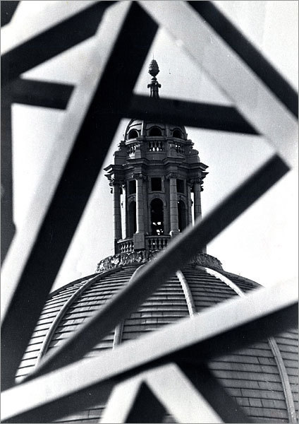 Detail of the top of the Mother Church is seen through a steel structure in this 1969 photo.