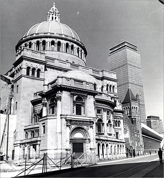 The new Christian Science Church is seen in this photo from 1974.