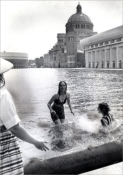 Almost as soon as it opened, taking a quick dip in the reflecting pool became habit for those looking to escape the heat, although doing so would risk getting a warning from plaza employees.