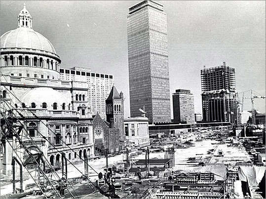 The construction of the Christian Science Plaza and the area where the reflecting pool would be built.
