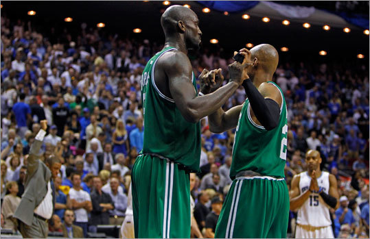 After the Magic's Jameer Nelson missed the final shot, Celtics Kevin Garnett and Ray Allen knew they had a victory and a 2-0 lead in their Eastern Conference finals series. The Celtics won 95-92 in Orlando Tuesday, and now the series shifts to Boston for Game 3 on Saturday and Game 4 on Monday.