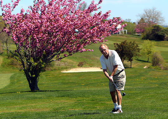 Francis Sullivan of Chatham chips up to the seventh green at the Seaside Links course.