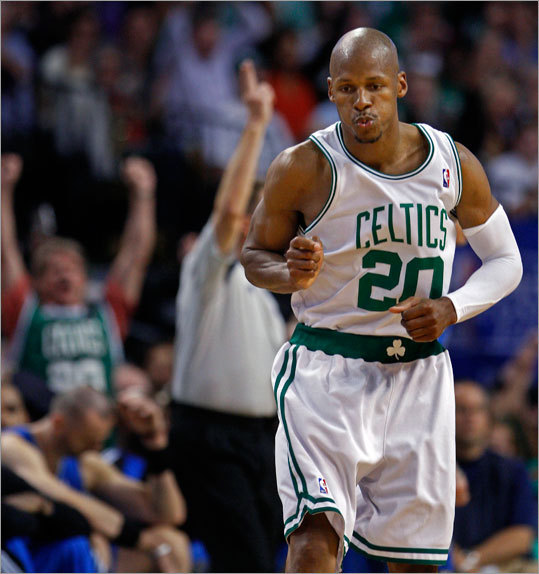 The Celtics' Ray Allen brought the crowd out of their seats after he hit a 3-pointer that put Boston ahead 75-47 in the third quarter.