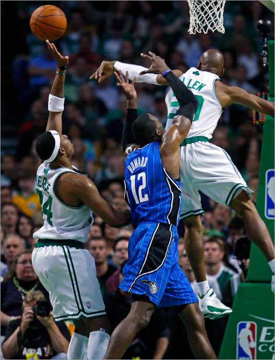 The Celtics' Ray Allen made a great first half defensive play when he knocked a pass away that was headed for the Magic's Dwight Howard.