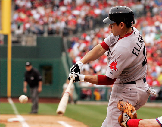 Jacoby Ellsbury connected for a two-run single off of Philadelphia Phillies' starting pitcher Roy Halladay during the sixth inning.