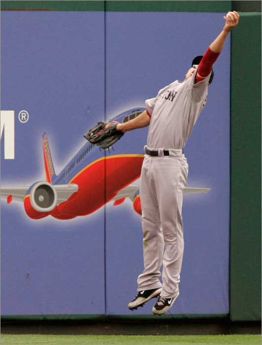 Jacoby Ellsbury made a one-handed catch of a double hit to center field by Philadelphia Phillies' Juan Castro during the seventh inning.