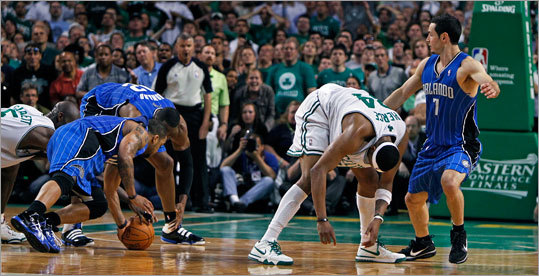 Celtics forward Paul Pierce lost control of the ball in the final seconds of regulation and was unable to take a last shot, forcing the Eastern Conference finals series between the Celtics and Magic into overtime. The Magic forced a Game 5 with a 96-92 victory.