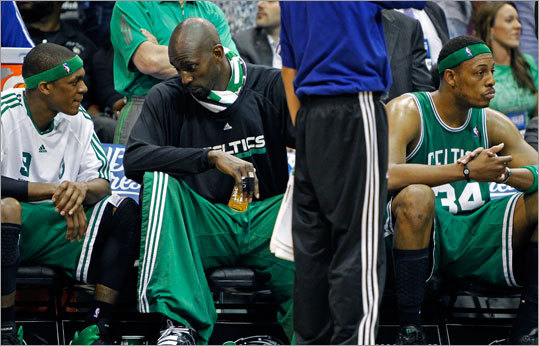 Concern was evident on the faces of the Celtics' Rajon Rondo, Kevin Garnett and Paul Pierce (left to right) during a late game timeout.