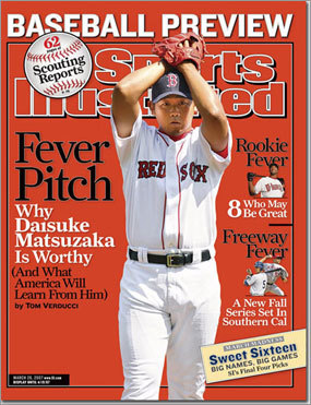 Dice-K makes a splash Red Sox pitcher Daisuke Matsuzaka was the subject of a feature story in the baseball preview issue on March 26, 2007. Once again, the jinx was busted, as the Red Sox won the World Series that season.