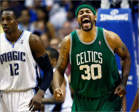 The Celtics' Rasheed Wallace was in pain after injuring his back in the second half.