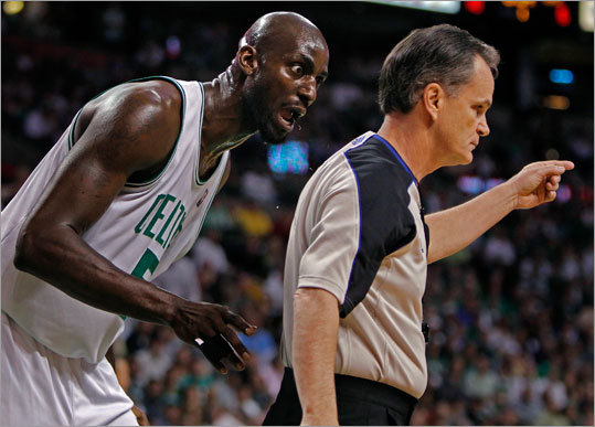 The Celtics' Kevin Garnett couldn't believe he was called for a first_quarter offensive foul>