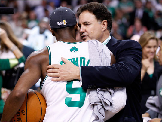 Celtics owner Steve Pagliuca congratulated guard Rajon Rondo after the Celtics won in convincing fashion.