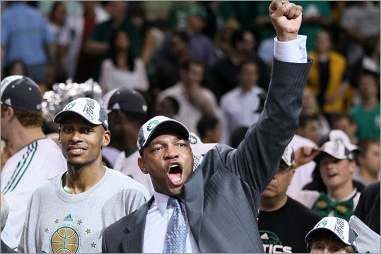 Coach Doc Rivers (right) and Ray Allen wore huge smiles after the Celtics defeated the Magic.