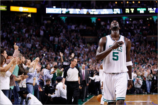 Kevin Garnett breathed a sigh of relief in the final seconds of the Celtics' win.
