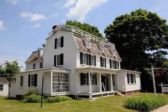 This Georgian-style gambrel roof structure, 11 Page St., was built by Jeremiah Page, an early Danvers brickmaker. Learn more about the house and tours of it at its website .