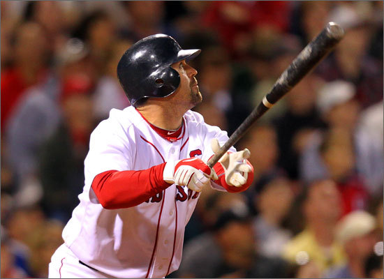 Catcher Jason Varitek provided some offensive spark for the Red Sox. He had an RBI single to drive in right fielder J.D. Drew to cut the lead to 4-3 in the sixth inning. Varitek has been in a bit of a slide after a strong start to the season. He's 3 for his last 18 (.167) with no home runs and one RBI.