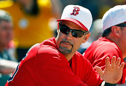 The Red Sox and Mike Lowell wore their alternate red jerseys, as well as special hats commemorating Memorial Day today.
