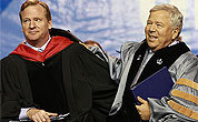 NFL commissioner Roger Goodell (left) with Patriots owner Bob Kraft at UMass-Lowell's graduation