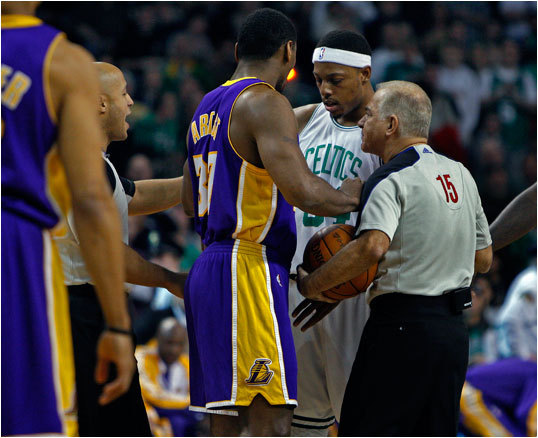 The two regular-season games the Celtics and Lakers played this season -- including a 90-89 Los Angeles victory on Jan. 31 (pictured) -- don't begin to tell the story of what this year's best-of-seven NBA Finals will bring. From the huddle to the rafters, we a look at the top 10 story lines for the Celtics during the Finals, which begin Thursday night (9 p.m.).