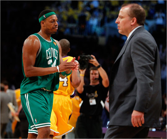 Celtics forward Paul Pierce showed his displeasure with the situation as he headed to the bench during a second-half timeout. Celtics assistant coach Tom Thibodeau is at right.
