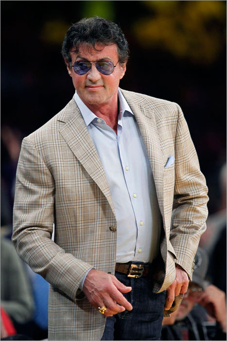 Actor Sylvester Stallone was among the celebrities taking in Game 1 of the NBA Finals between the Celtics and Lakers at Staples Center in Los Angeles.