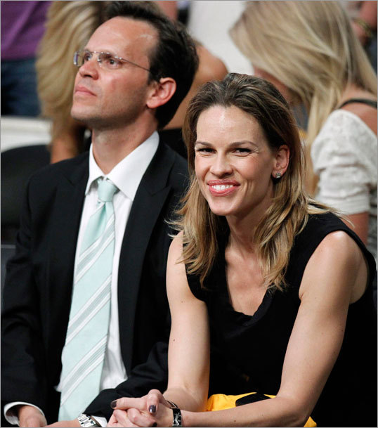 Actress Hilary Swank and her boyfriend, agent John Campisi, attended Game 1.
