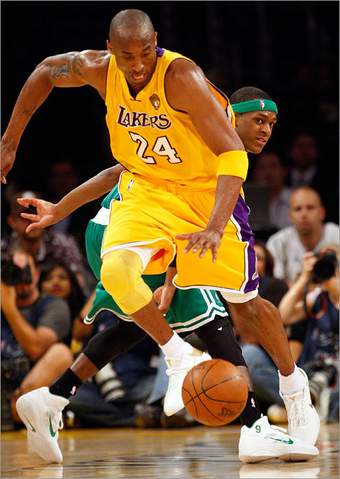 Lakers guard Kobe Bryant scored 30 points and made one steal - this one off Celtics guard Rajon Rondo - to lead the Lakers to a 102-89 victory in Game 1 of the NBA Finals Thursday in Los Angeles.