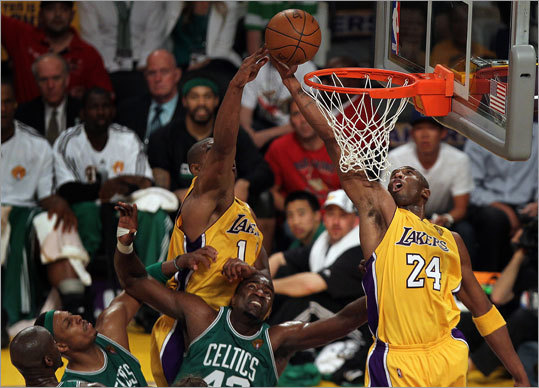 Lakers guard Kobe Bryant (right) scored on a putback late in the second half. Bryant hit 10 of 22 shots.