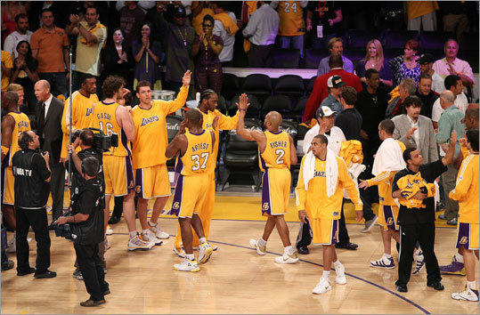 The Lakers shot 48 percent from the floor and outrebounded the Celtics 42-31 to win Game 1 of the NBA Finals.