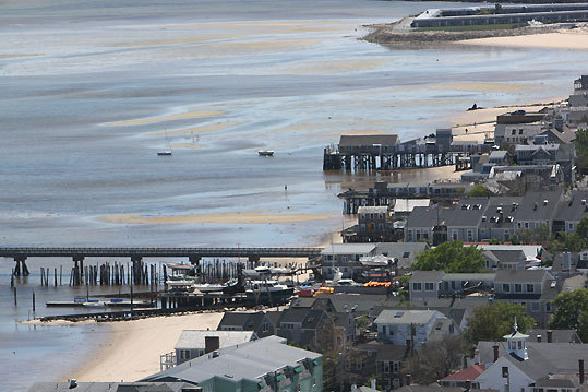The view of Provincetown from the top of the Pilgrim Monument.