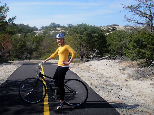 Courtney pauses on the Province Lands Trail bike path.