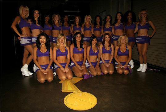 The Los Angeles Lakers Girls dancers posed for a group photo prior to Game 2.