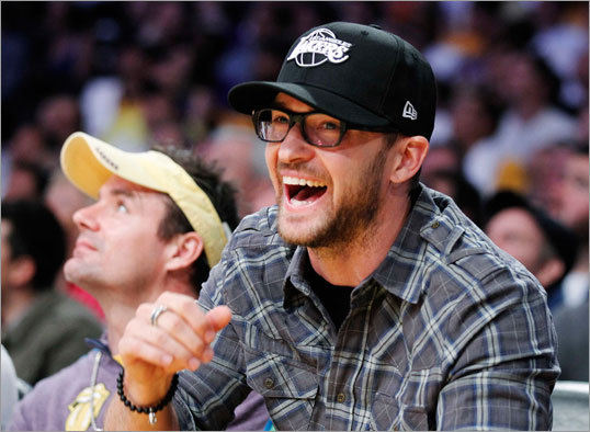 Singer Justin Timberlake sported a black Lakers cap as he took in Game 2.