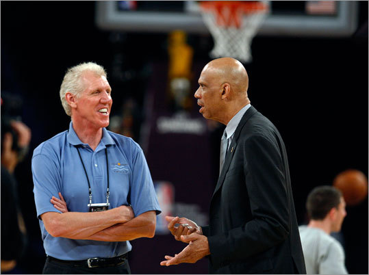 Basketball greats Bill Walton (left) and Kareem Abdul-Jabbar chatted at center court about two hours before tap-off of Game 2 of the NBA Finals Sunday night at Staples Center in Los Angeles.