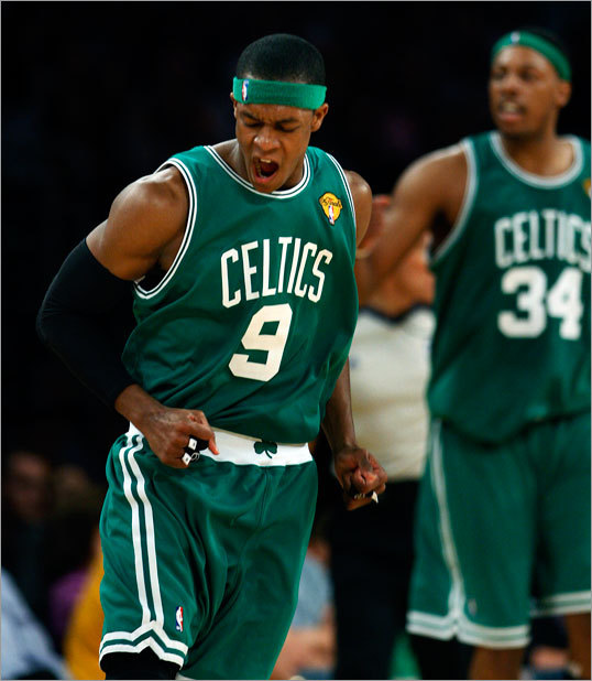 Rajon Rondo celebrated after hitting a shot to put the Celtics up 95-90 with less than two minutes remaining in the game.
