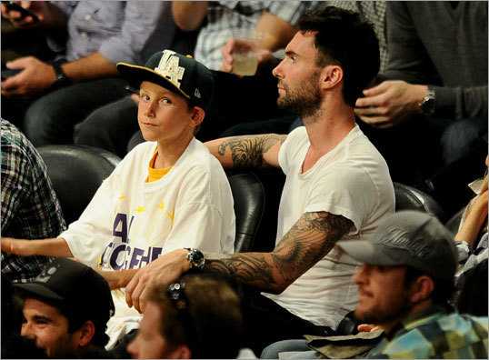 Singer Adam Levine of Maroon 5 attended Game 2.