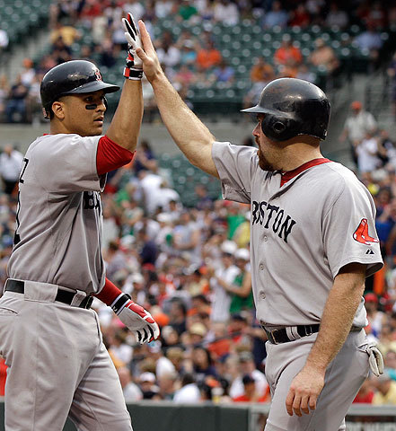 Kevin Youkilis, who was aboard when Martinez connected for his homer, greeted the catcher at home.