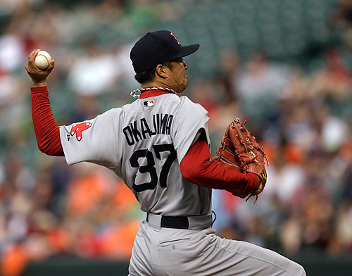 Hideki Okajima worked a flawless 10th, but was tagged with the loss in the 11th. He walked two (one intentional) and yielded Nick Markakis' game-winning single.