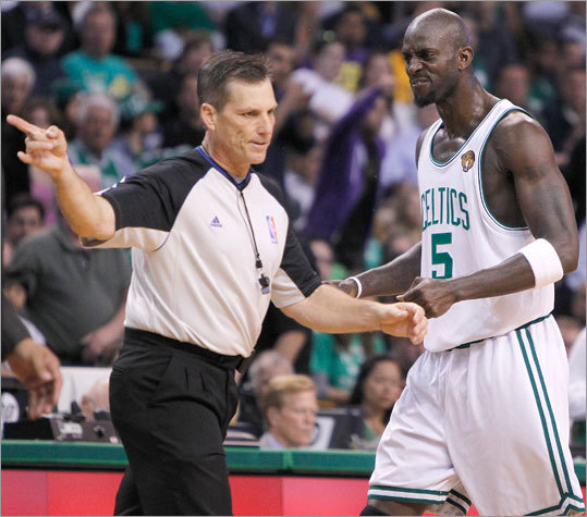 Celtics forward Kevin Garnett was whistled for a fouled in the third quarter.
