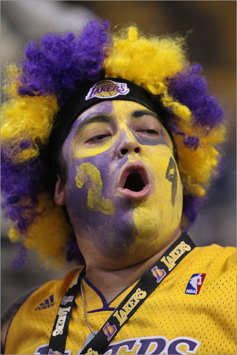 Lakers fan Art Montano tuned up his vocal cords before the game.