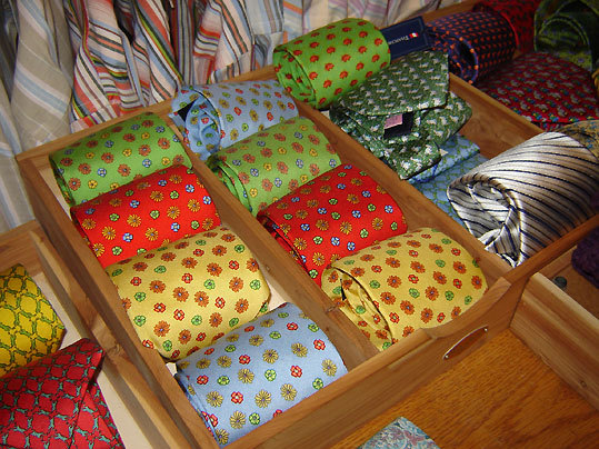 A selection of ties for sale at Sundog in Edgartown.