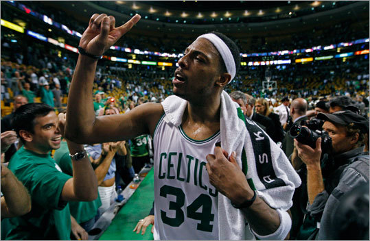 Forward Paul Pierce led the Celtics to a 92-86 victory over the Lakers in Game 5 of the NBA Finals at TD Garden. The Celtics have a 3-2 lead in the best-of-7 series. Game 6 is Tuesday in Los Angeles.