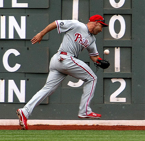 Left-fielder Raul Ibanez couldn't make the play in the third inning, but made up for it an inning later with his two-run home run.