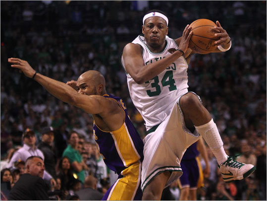 On this key play that helped clinch the Celtics' victory, Paul Pierce leaped to snare a long inbounds pass from Kevin Garnett (not pictured) with less than 36 seconds to play in the fourth quarter. Pierce relayed the pass to teammate Rajon Rondo who scored on an easy layup to complete the play.